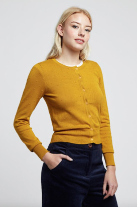 Louche Idie Spot Button Through Cardigan Mustard - viscose | mustard | 16 - Mustard