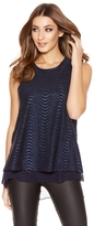 Quiz Royal Blue Glitter Wave Sleeveless Top