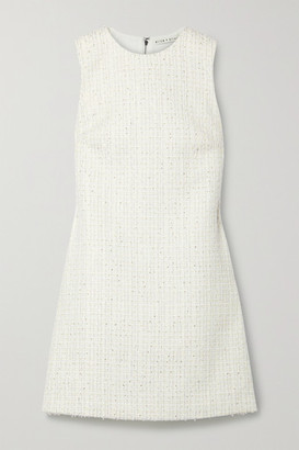 Alice + Olivia Coley Metallic Tweed Mini Dress - White