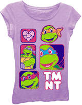Asstd National Brand Teenage Mutant Ninja Turtles Girls' Character Panels with Hearts and Bubble Logo Short Sleeve Graphic T-Shirt with Pink Glitter