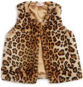 Design History Toddler's & Little Girl's Faux Fur Cheetah Vest