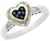 Lord & Taylor Sterling Silver with 14Kt. Yellow Gold Green Blue Diamond Heart Ring