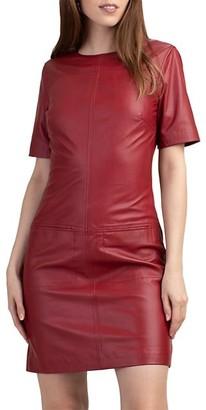 Trina Turk Mia Short-Sleeve Leather Dress