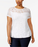 INC International Concepts Plus Size Sequined Lace Top, Only at Macy's