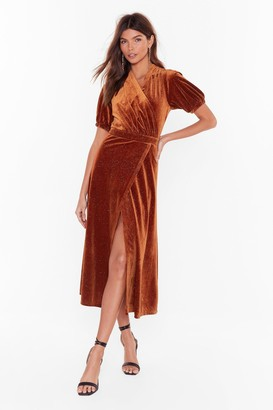 Nasty Gal Womens Shine After Shine Velvet Midi Dress - Rust