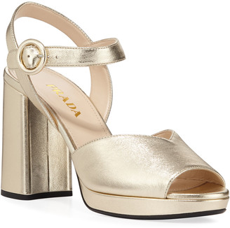 Prada 95mm Metallic Leather Platform Sandals
