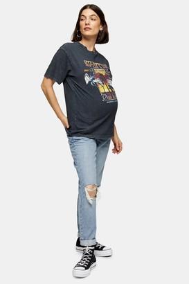 Topshop Womens **Maternity Bleach Wash Over The Bump Rip Mom Jeans - Bleach Stone