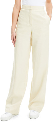 Theory Luxe Linen Clean High-Rise Wide-Leg Trousers
