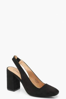 boohoo Block Heel Square Toe Slingback Court Shoes