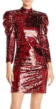Alice + Olivia Brenna Puff-Sleeve Sequined Dress