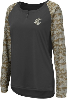 Colosseum Women's Charcoal/Camo Washington State Cougars United We Stand Camo Raglan Long Sleeve Henley T-Shirt