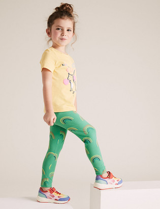 Marks and Spencer Cotton Rainbow Print Leggings (2-7 Yrs)