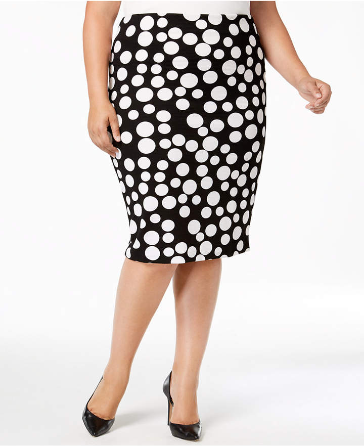 Plus Size Polka-Dot Pencil Skirt