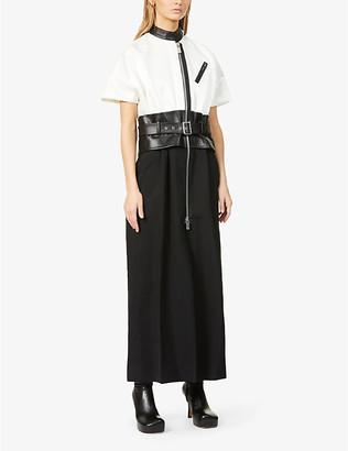 Sacai Leather-belt wool-blend midi dress