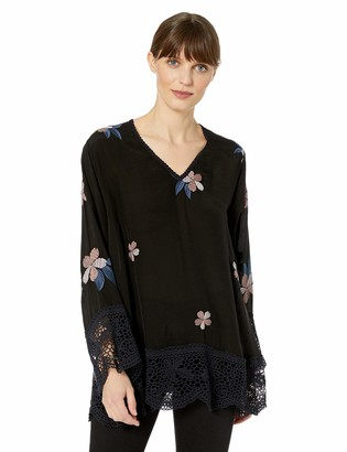 Johnny Was Women's Long Sleeve V-Neck with Embroidery and Lace Trim