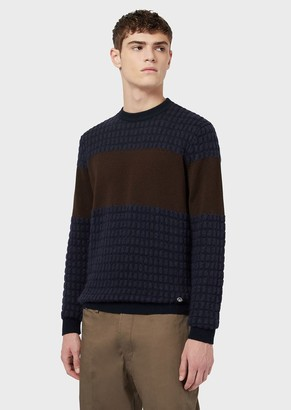 Emporio Armani Mohair Wool Blend Waffle Effect Sweater