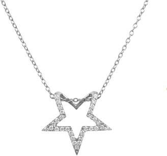 Latelita Diamond Open Star Pendant Necklace Silver