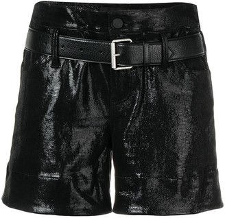 RtA High-Waisted Vinyl Coated Shorts