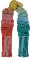 Missoni Fringed Metallic Crochet-knit Scarf - Blue