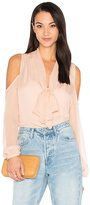 Haute Hippie The Vida Cold Shoulder Blouse in Pink