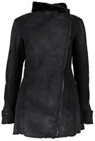 Weatherproof Black Asymmetrical Faux Shearling Coat