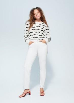 MANGO Violeta BY Striped openwork knit sweater off white - S - Plus sizes