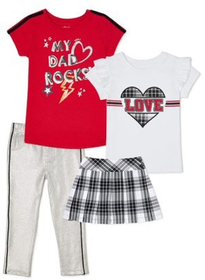 Garanimals Toddler Girls Graphic Tees, Plaid Skirt and French Terry Jeggings Outfit Set, 4-Piece