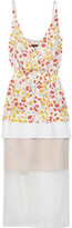 Mother of Pearl Odelia paneled pleated printed silk and organza dress