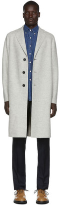Harris Wharf London Grey Wool Pressed Mouline Coat