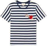 Gucci Appliquéd Striped Cotton-Jersey T-Shirt