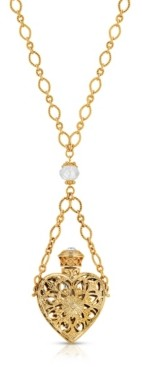 2028 14K Gold Dipped Crystal Filigree Heart with Glass Vial Necklace