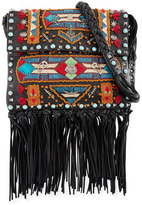 Valentino Rockstud Rolling Embroidered Fringe-Trim Leather Crossbody Bag