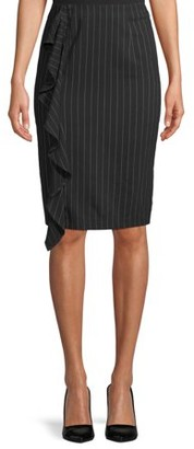 L.N.V. Women's Plaid Side Ruffle Skirt