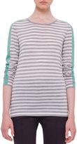 Akris Punto Long-Sleeve Striped Colorblock Sweater, Silver/Gray/Spearmint