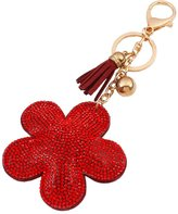 QIYUN.Z Flower Rhinestone Crystal Pendant Key Chain Alloy Keyfob Bags Keyring Porte-cles