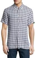 Billy Reid Tuscumbia Plaid Short-Sleeve Sport Shirt, Blue/Natural
