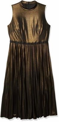 Donna Morgan Women's Plus Size Stretch Foil Pleated Skirt Halter Dress