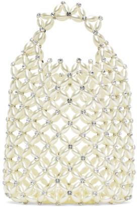 Simone Rocha White Beaded Shopper Tote