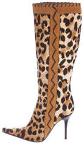 Casadei Leopard Printed Knee-High Boots