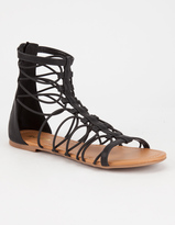 Soda Sunglasses Bungee Cord Zip Back Womens Gladiator Sandals