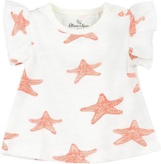 Oliver & Rain Starfish Coral Ruffle Top