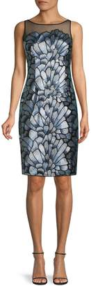 Adrianna Papell Sequined Floral Embroidered Mesh Sheath Dress