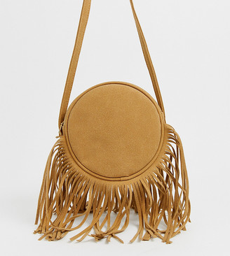 My Accessories London camel suede round shoulder bag with long fringing