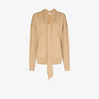 Chloé V-neck tie cashmere sweater