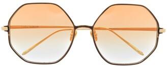 Linda Farrow Heaxgonal Grame Gradient Sunglasses