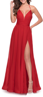 La Femme Deep V-Neck Lace-Up Back Chiffon Gown w/ Slit
