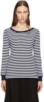 Hyke Navy and White Striped Border T-Shirt