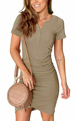 Moyabo Women's Summer Casual T Shirt Dresses Short Sleeve Ruched Bodycon T Shirt Short Mini Dresses with Faux Button Black Medium
