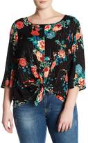 Hip Tie Front Metallic Floral Blouse (Plus Size)