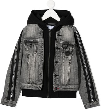 Philipp Plein Junior Hooded Denim Bomber Jacket